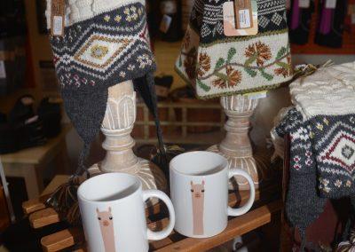 Chullos and mugs at Poppy's